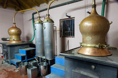 During traditional distillation of alcohol and production of hom Royalty Free Stock Photography