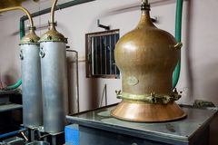During traditional distillation of alcohol and production of hom Stock Photos