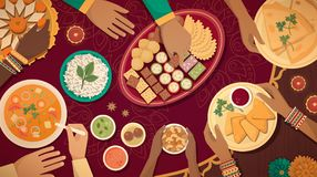 Traditional Diwali celebration at home with food. Family celebrating Diwali at home with lamps and traditional food, top view stock illustration