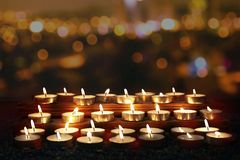 Traditional Diwali lamps lit on the occasion of Diwali festival.  royalty free stock images