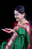 Traditional Diwali Woman Stock Photo