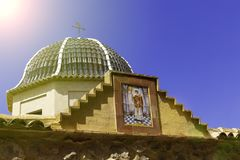 Traditional dome with blue ceramic tiles and the image of the saint in the church Relleu, Alicante province.  royalty free stock photos