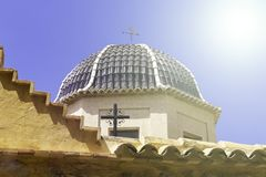 Traditional dome with blue ceramic tiles at Relleu Church, Alicante province.  stock photos