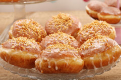 Traditional donuts with jam and walnuts.  Stock Image