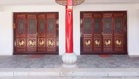 Traditional door of Chinese temple . Traditional door of Chinese temple Stock Photo