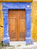 Traditional door of a Greek island Royalty Free Stock Photos