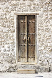 Traditional Door  of a Historical Fort in Bahrain Stock Photography