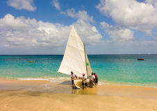 A traditional double-ended sailboat competing in the bequia easter regatta Stock Photo