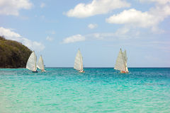 Traditional double-ended sailboats competing in the bequia easter regatta Stock Images
