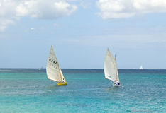 Traditional double-ended sailboats competing in the bequia easter regatta Royalty Free Stock Photo