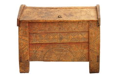 Traditional dowry coffer made of oak wood Stock Images