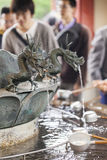 Traditional Dragon Bamboo Fountain in Japan Stock Images