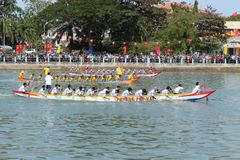 Traditional Dragon Boat Racing Festival on Ca Ty river, Phan Thi royalty free stock image