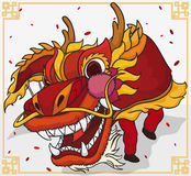 Traditional Dragon Dance For Chinese New Year Celebration, Vector Illustration Stock Photos
