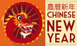 Traditional Dragon Dance in Flat Style for Chinese New Year, Vector Illustration. Banner in flat style with traditional Chinese dragon dance screwed costume over Stock Image