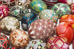 Traditional drawing on Easter eggs Stock Photo