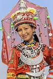 Traditional dressed Zhuang minority girl, Longji, China. LONGJI-CHINA–SEPT. 16, 2006. Zhuang minority girls on Sept. 16, 2006 in Longji. Girls of Zhuang Stock Image