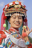 Traditional dressed Zhuang minority girl, Longji, China. LONGJI-CHINA–SEPT. 16, 2006. Zhuang minority girls on Sept. 16, 2006 in Longji. Girls of Zhuang Royalty Free Stock Photography