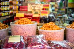 Traditional Dried Shrimp For Sale At Store Stock Photos
