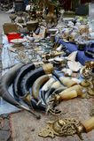 traditional drinking horns used for wine sold on flea market ,Tbilisi Stock Photos