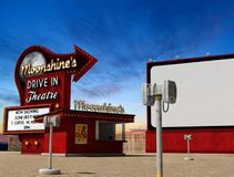 Traditional drive-in movie theater cinema at dusk. Traditional 1950s drive-in movie theater, cinema at dusk, 3d render, illustration royalty free illustration