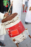 Traditional drum played by artist with Fijiri Royalty Free Stock Photography