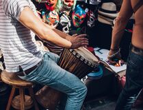 Traditional drum player Royalty Free Stock Images