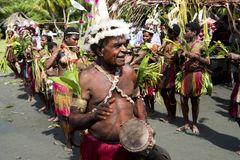 Celebration traditional dances oin Sepik River in New Guinea Royalty Free Stock Photos