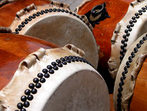 Traditional drums. Traditional Japanese wooden drums-detail Stock Image