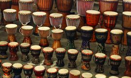 Traditional drums, sold on a market in Johannesburg stock images