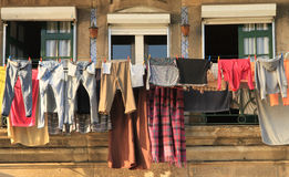 Traditional drying the linen. In Portugals Stock Photography