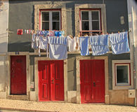 Traditional drying the linen Stock Photography