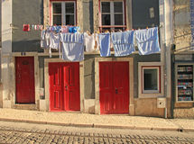 Traditional drying the linen Royalty Free Stock Photography