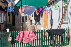 Traditional drying of washing in the Netherlands Stock Photos