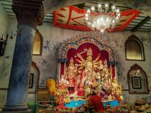 Traditional Durga Puja at an old Bengali House royalty free stock photo