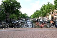Bike bridge in Amsterdam Stock Images