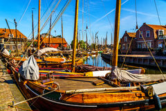 Traditional Dutch Botter Fishing Boats in the Harbor of the historic village of Spakenburg-Bunschoten Royalty Free Stock Photography