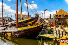 Traditional Dutch Botter Fishing Boats in the Harbor of the historic village of Spakenburg-Bunschoten Stock Images