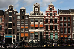 Traditional Dutch brick houses in Amsterdam, Netherlands. Royalty Free Stock Image