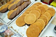 Traditional Dutch buttercups Stroopwafels  Verwij cookies Stock Images