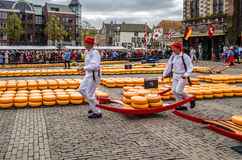 Traditional Dutch cheese market in Alkmaar, the Netherlands. ALKMAAR, THE NETHERLANDS - APRIL 22, 2016: Typical cheese market at the Waagplein in the city of stock photography