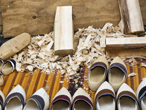 Traditional dutch clog production Royalty Free Stock Images