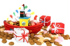 Traditional dutch culture: Santa Claus steamboat. Traditional dutch culture:Santa Claus steamboat full of gingernuts, presents and candies at 5th december Stock Images