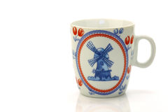 Traditional Dutch Delft blue ceramic coffee mug Royalty Free Stock Image