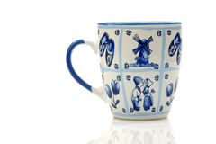 Traditional Dutch Delft blue ceramic coffee mug Stock Photos