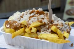 Traditional Dutch fast food dish, fried potatoes with sate sauce, onion and mayonaise, fat and not healthy street food. Close up royalty free stock images