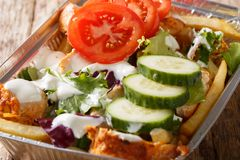 Traditional Dutch fast food kapsalon of french fries, chicken, f. Resh salad and sauce close-up on the table. Horizontal royalty free stock photos