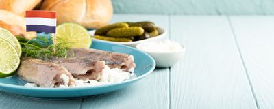 Traditional dutch food herring fish. Traditional dutch food freshly salted herring fish with onion called hollandse nieuwe on turquoise plate and wooden royalty free stock photo