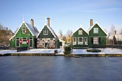 Traditional Dutch houses in the Netherlands. Traditional Dutch houses in the little village of Zaanse Schans, the Netherlands in wintertime Stock Photo