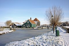 Traditional Dutch houses in the Netherlands Royalty Free Stock Photo
